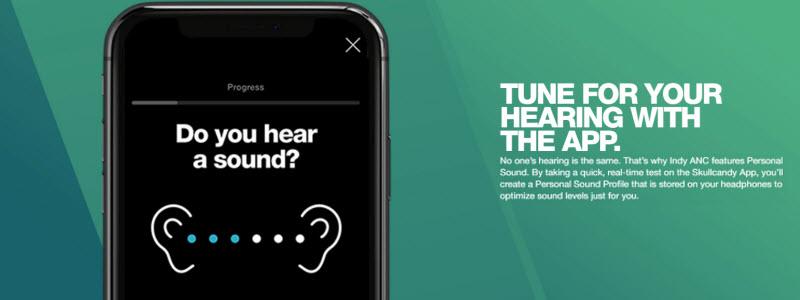 personal sound از شما يك شنوايي سنجي قبل استفاده ميگيرد و صداي مخصوص شما رو به شما تقديم مي كند که هدفون Indy ANC مجهز به این سیستم ست
