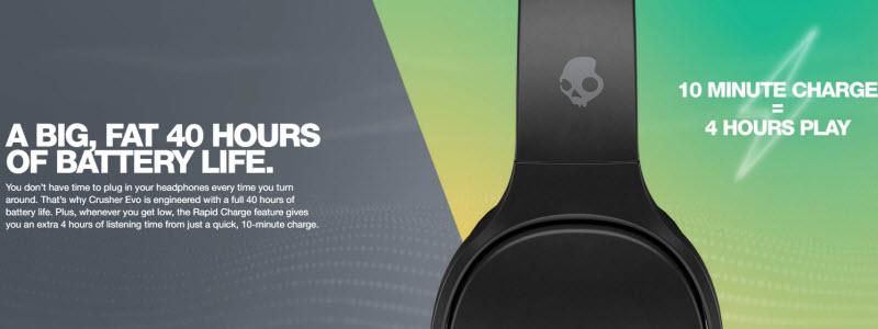 Crusher Evo توانسته با ارتقای باطری خود به 40 ساعت جز بهترین های و قدرتمندترین زمان شارژ بین هدفونهای موجود در دنیا باشه.