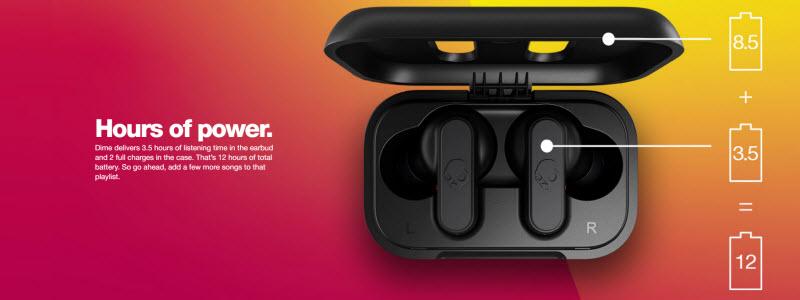 هر ایربادز تمام وایرلس اسکال کندی Dime، با 3.5 ساعت شارژ اجرا و 8.5 ساعت شارژ کیس همراه،مجموعا 12 ساعت باتری خواهد داشت.