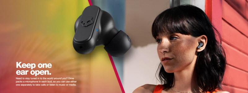 در هریک از ایربادزهای چپ و راست هدفون اسکال کندی Dime میکروفن تعبیه شده که این باعث میشود هنگامی که بخواهید یک گوش خود را نسبت صداهای محیط باز نگه داریداز هرکدام ایربادز به دلخواه استفاده کنید